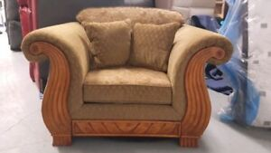Brown Fabric Chair with Wood Design and Matching Pillows