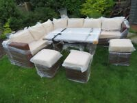 Rattan garden brown corner sofa with glass top table - New & Sealed
