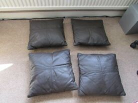 4 Marks & Sparks brown leather cushions £10