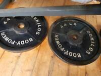 BODY POWER OLYMPIC WEIGHT PLATES (2X20KG) 40KG.