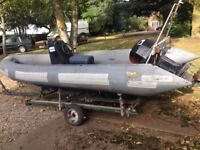 Avon Rib Speed Boat With Outboard Motor