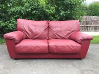 Metal Action Real Red Leather Double Sofa Bed