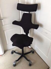 HAG Capisco 8107 Ergonomic Office Chair & Head-rest, Black - EXCELLENT CONDITION