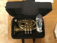 Thomann TR25 pocket trumpet and case