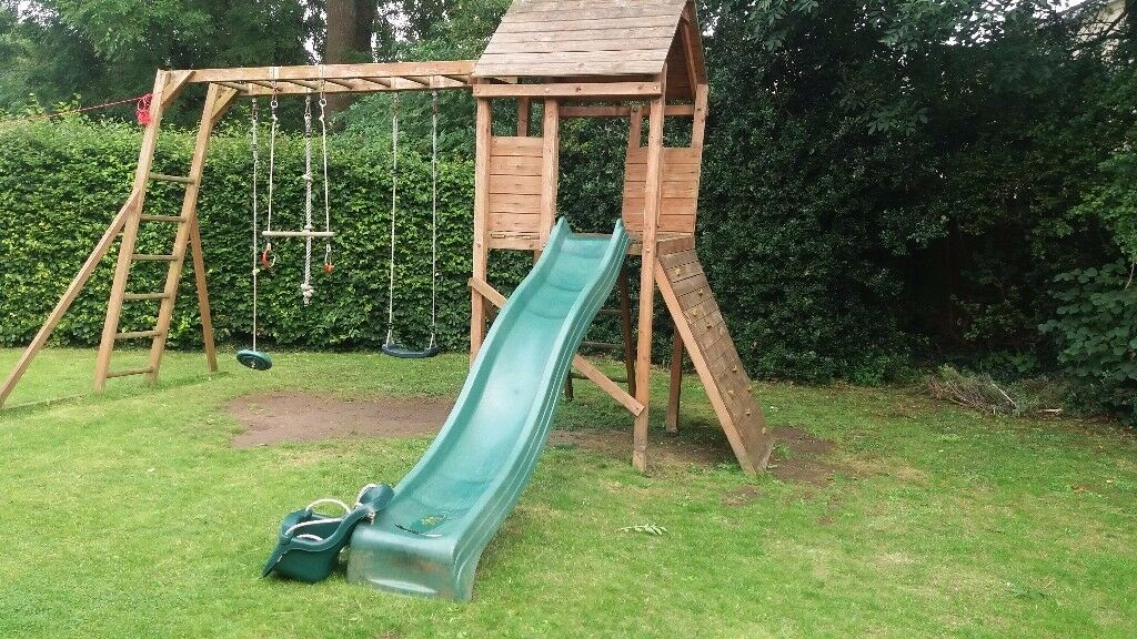 Wooden climbing frame playground, slide, swings, rope, baby-swings ...