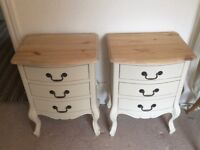 Twin Pair Of Shabby Chic Beside Tables