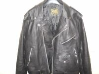 mens xl real leather black biker jacket new cost £100 new