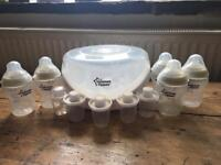 Tommee tippee microwave steam steriliser, bottles and milk storage pots