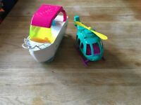 Poly pocket boat and helicopter