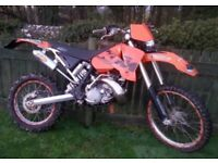 £1800 1999 ktm 125 exc with 2005 ktm 200 exc top end animal!!! Road Legal
