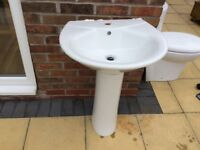 White wash basin 500mm wide plus pedestal
