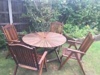 Outdoor garden patio furniture set, table & chairs