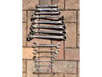 Various sizes of imperial spanners.