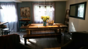 700 OBO MUST GO! Farm house table c/w two benches