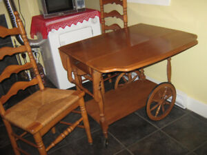 Wooden tea cart & 2 wooden chairs.
