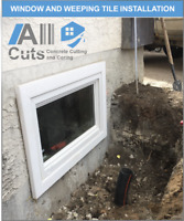 Window Cutting for basement windows, window installation package