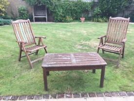 Garden coffee table and chairs