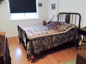 Antique metal bed frame with springs