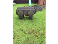 Large Solid Wood Hand-Carved Garden Ornament - RHINO