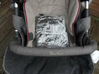 SILVERCROSS PRAM AND CAR SEAT AND RAIN COVER