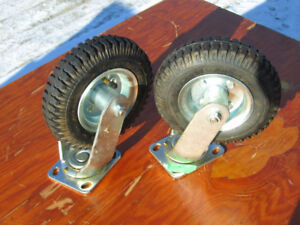 """Pair of 8"""" Pneumatic Caster Rubber Wheels Tire size 2.50-4 Greas"""