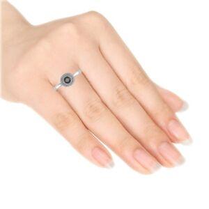 Beautiful 1.03CT Black Diamond & Sterling Silver Ring