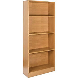 Maine Tall Extra Wide Deep Bookcase - Oak Effect