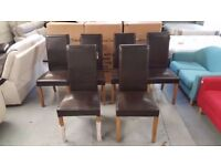 New 6 Julian Bowen Cuba Brown Faux Leather Dining Chairs CAN DELIVER View Collect KIRKBY NG17