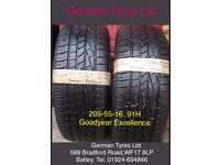 205-55-16 / 205-55 R16 Goodyear Excellence Part Worn Tyres 5mm+ Tread,fitted