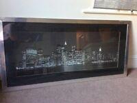 New York City print in silver frame