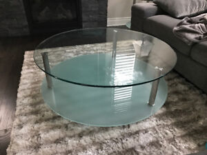 Modern glass coffee and end table set