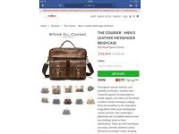 Men's leather briefcase suitable for iPad large folders notepads etc.
