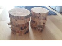12 Wooden log centrepieces ideal for wedding reception
