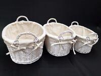 Set of 3 Oval Wicker Storage Baskets (White)