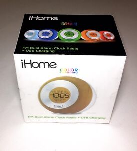 IHome Colour Changing Dual Alarm FM Radio with USB Charging