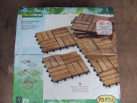 40 acacia wood tiles for patio, balcony or conservatory