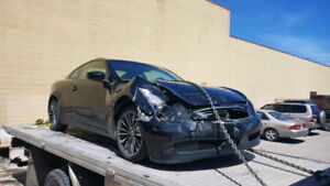 2009 Infiniti G37x Coupe (2 door) front end damagedd