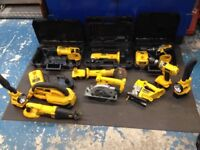 DEWALT 18v XRP cordless tools including batteries and chargers