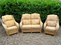 Bamboo Cane Conservatory Furniture- 2 seater settee & 2 chairs