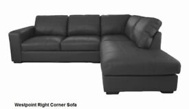 *BRAND NEW* Modern design westpoint leather corner sofa, available in black, brown,cream or red