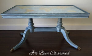 Refinished antique coffee table map