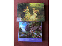 2 x 1500 PIECE QUALITY JIGSAW PUZZLES-THE VISITOR & COUNTRYSIDE COTTAGE