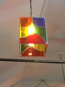 Stained glass fixtures from church