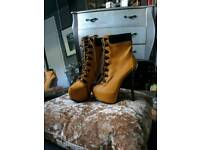 Rare High Heeled Timberland Style Boots Size 3.5 - American