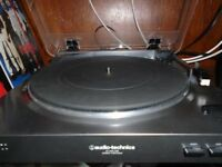 Audio Technica AT LP-60 Turntable with Kef Egg Speakers and Technics amp