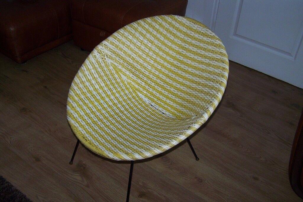 Vintage Vinyl Weave Tub Bucket Chair 1950s 60s Woven Chair
