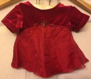 Toddler Dress Gloria Sz 6m, Red Velvet and Shier over the velvet