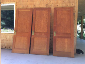 solid wood antique doors with brass hardware