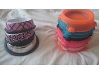 8 cat food bowls, metal and plastic
