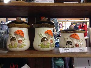 Vintage Merry Mushrooms Canister Set